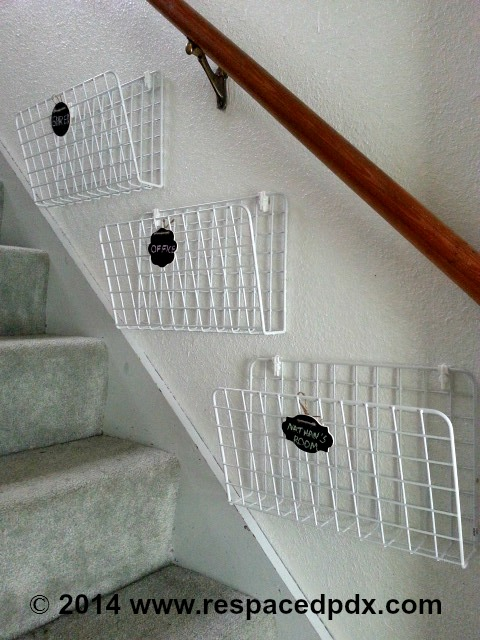 stairway organizer 1 End the piles on the stairs with this easy idea